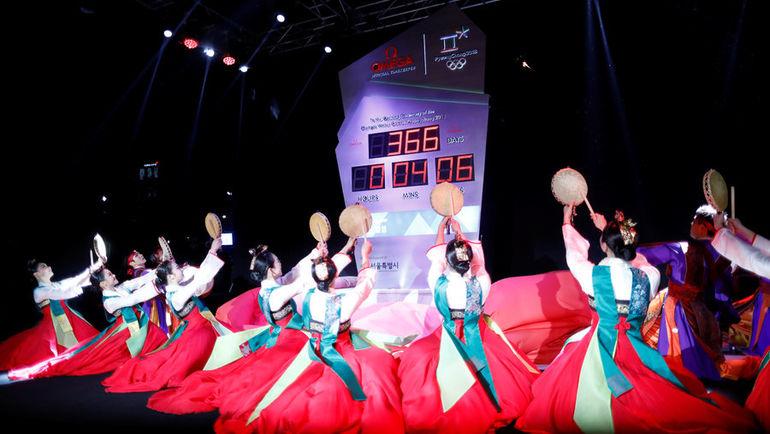 Сегодня в Пхенчхане начинают обратный отсчет времени до Олимпиады-2018. Фото AFP
