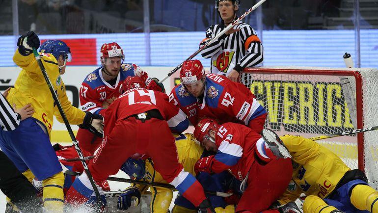 Опасный момент у ворот сборной России. Фото AFP