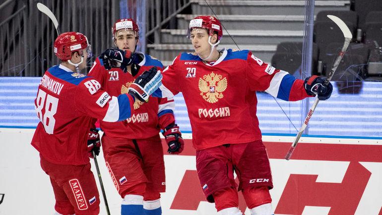Сегодня. Гетеборг. Россия - Чехия - 4:2. Игроки сборной России празднуют взятие ворот соперника. Фото AFP