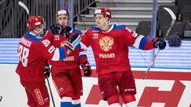 Сегодня. Гетеборг. Россия - Чехия - 4:2. Игроки сборной России празднуют взятие ворот соперника.