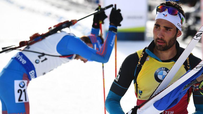 Вчера. Хохфильцен. Мартен ФУРКАД (справа) и Антон ШИПУЛИН после финиша гонки преследования. Фото AFP