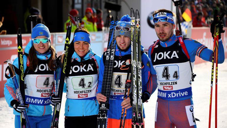 Ольга ПОДЧУФАРОВА (слева) - бронзовый призер ЧМ-2017 в смешанной эстафете. Фото AFP
