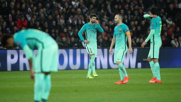 "Вторник. Париж. ""ПСЖ"" - ""Барселона"" - 4:0. Эмоции гостей. Фото Reuters"