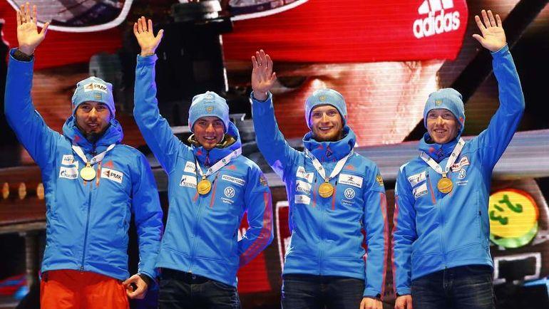 Вчера. Хохфильцен. Сборная России выиграла мужскую эстафету на чемпионате мира. Фото Reuters