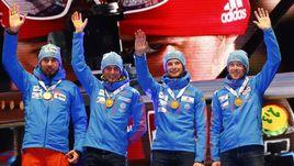 Вчера. Хохфильцен. Сборная России выиграла мужскую эстафету на чемпионате мира.