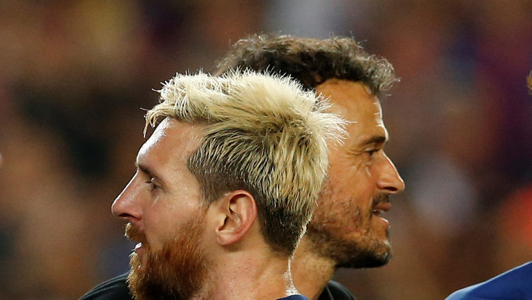 """Нападающий """"Барселоны"""" Лионель МЕССИ (слева) и ЛУИС ЭНРИКЕ. Фото Reuters"""