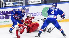 """Сегодня. Санкт-Петербург. СКА - """"Витязь"""" - 3:1. Армейцы начали серию с победы."""