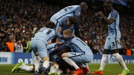 "Вторник. Манчестер. ""Манчестер Сити"" - ""Монако"" - 5:3. Хозяева празднуют пятый забитый гол."