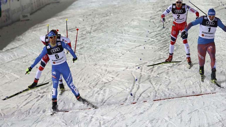 Сергей УСТЮГОВ (справа) финиширует после Федерико ПЕЛЛЕГРИНО (слева). Фото REUTERS