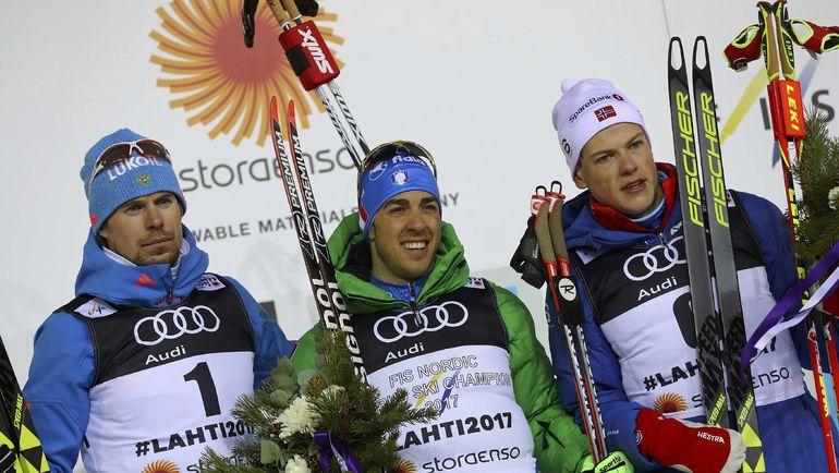 Федерико ПЕЛЛЕГРИНО (в центре), Сергей УСТЮГОВ (слева) и Йоханнес КЛЕБО. Фото REUTERS