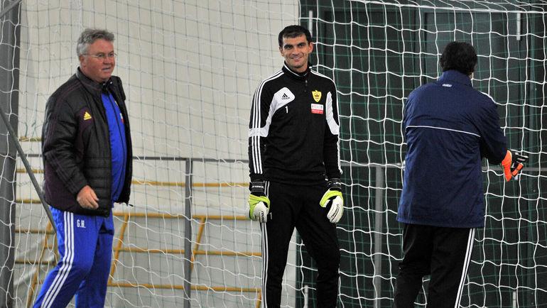 2013 год. Гус ХИДДИНК, Владимир ГАБУЛОВ и Заур ХАПОВ (слева направо). Фото Алексей ИВАНОВ, «СЭ»