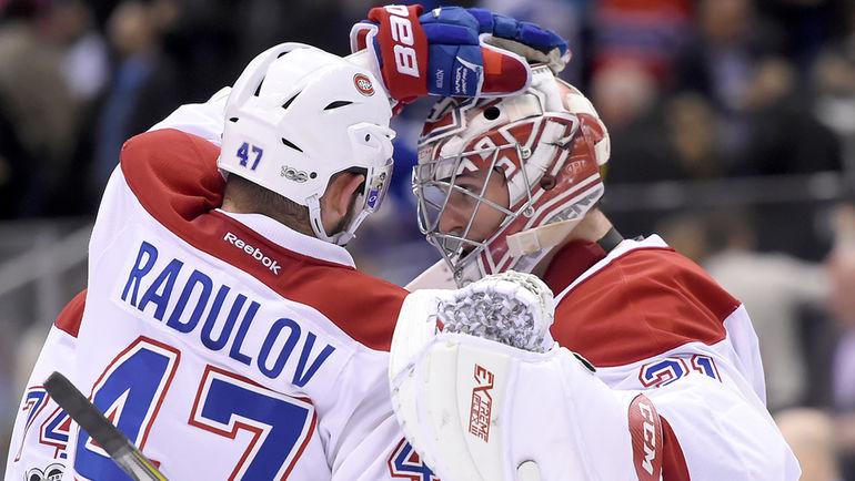 """Сегодня. Торонто. """"Торонто"""" - """"Монреаль"""" - 2:3 ОТ. Александр РАДУЛОВ (слева) очков не набрал, но его команда одержала победу. Фото USA TODAY Sports"""
