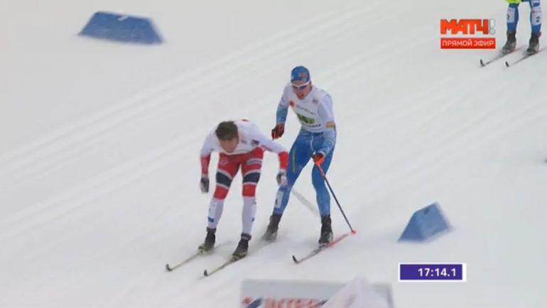 Столкновение норвежца Эмиля Иверсена и финна Иво Нисканена. Фото Матч ТВ