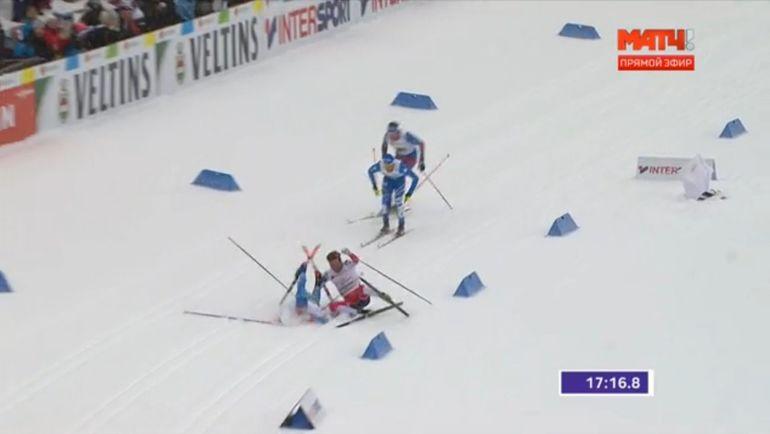 Столкновение норвежца Эмиля Иверсена и финна Иво Нисканена.