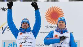 26 февраля. Лахти. Никита КРЮКОВ (справа) и Сергей УСТЮГОВ выиграли командный спринт на чемпионате мира в Лахти.
