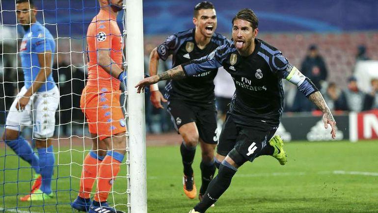 """Вторник. Неаполь. """"Наполи"""" - """"Реал"""" - 1:3. СЕРХИО РАМОС радуется голу. Фото Reuters"""