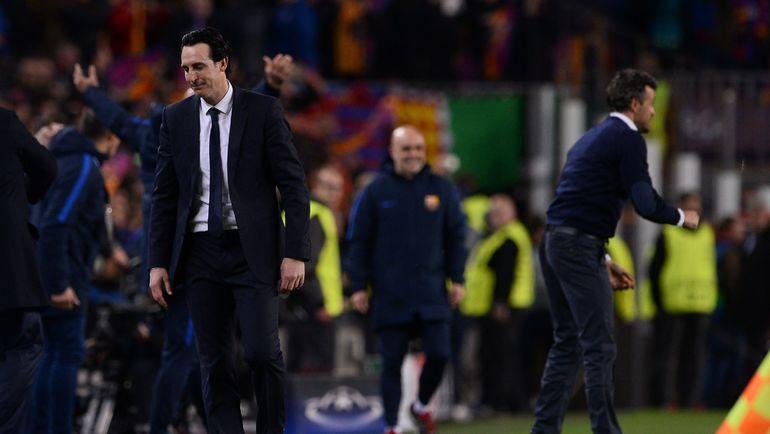 """Среда. Барселона. """"Барселона"""" - """"ПСЖ"""" - 6:1. Эмоции Унаи ЭМЕРИ. Фото Reuters"""