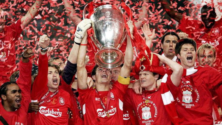 """25 мая 2005 года. Стамбул. """"Ливерпуль"""" - """"Милан"""" - 3:3, по пенальти - 3:2. Игроки английской команды проигрывали по ходу матча 0:3, но смогли добиться победы в серии пенальти. Фото AFP"""