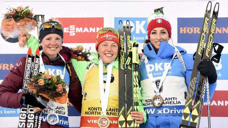 Сегодня. Контиолахти. Мари Дорен-АБЕР, Лаура ДАЛЬМАЙЕР и Лиза ВИТТОЦЦИ - призеры гонки преследования. Фото Reuters