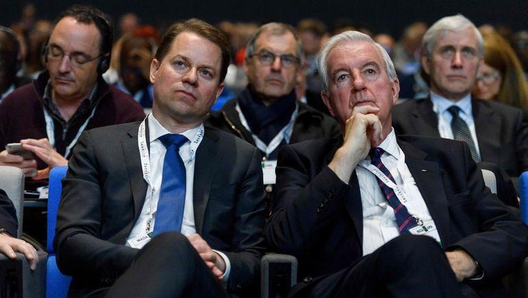 Сегодня. Лозанна. Генеральный директор ВАДА Оливье НИГГЛИ и глава ВАДА Крэйг РИДИ. Фото AFP