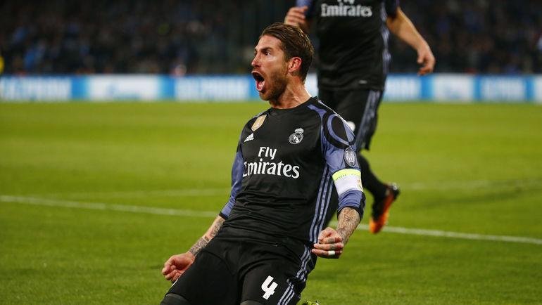 """7 марта. Неаполь. """"Наполи"""" - """"Реал"""" - 1:3. 52-я минута. СЕРХИО РАМОС празднует ответный гол, после чего организует еще один. Фото Reuters"""