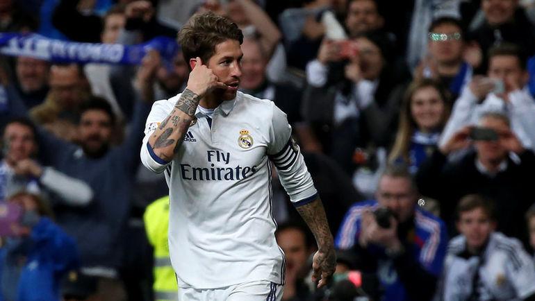 """12 марта. Мадрид. """"Реал"""" - """"Бетис"""" - 2:1. 81-я минута. СЕРХИО РАМОС празднует победный гол. Фото AFP"""
