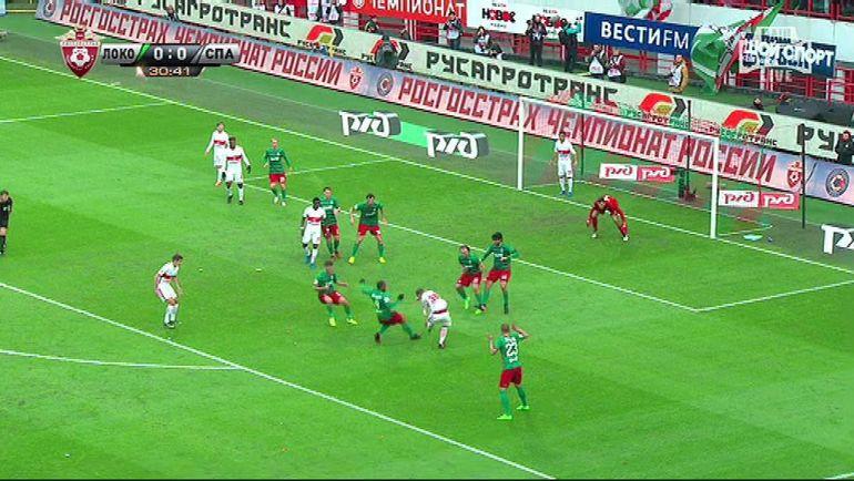 31-я минута. Попадание мяча в руку Виталия ДЕНИСОВА.