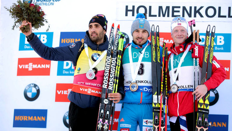 Мартен ФУРКАД, Антон ШИПУЛИН и финишировавший третьим Йоханнес БЕ. Фото Reuters