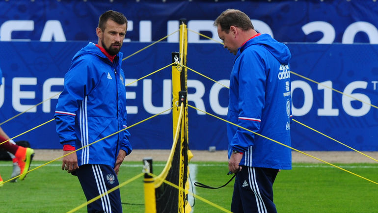 Сергей СЕМАК и Леонид СЛУЦКИЙ на Euro-2016. Фото Александр ФЕДОРОВ, «СЭ»