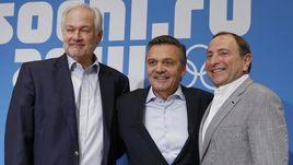 Рене ФАЗЕЛЬ (в центре), Гэри БЭТТМЕН (справа) и Дональд ФЕР в олимпийском Сочи-2014: встретятся ли они в Пхенчхане-2018?