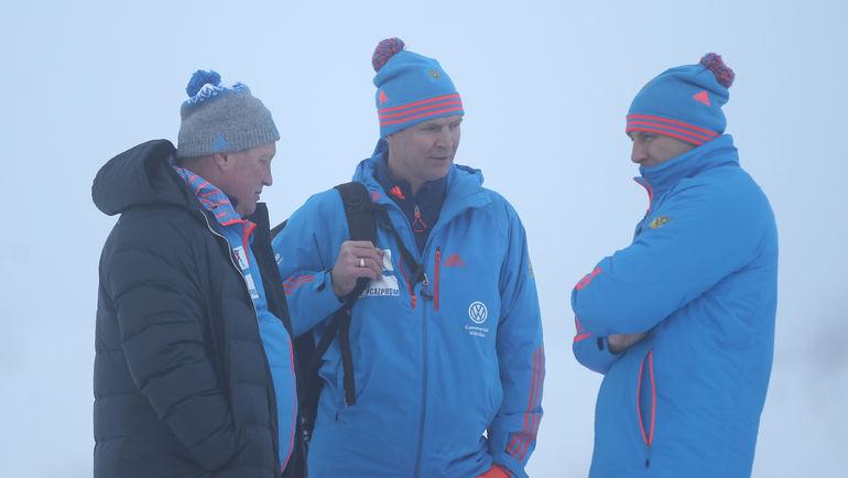 Тренеры мужской команды Андрей ГЕРБУЛОВ, Андрей ПАДИН и Андрей КРЮЧКОВ (слева направо). Фото Андрей АНОСОВ, СБР