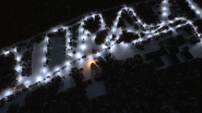Лыжная трасса при спортивной детско-юношеской школе - вид ночью.