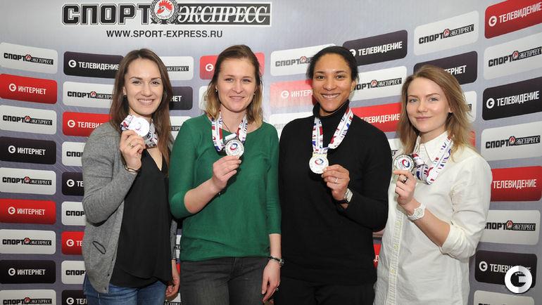 Сегодня. Москва. Слева направо: Анна СИДОРОВА, Маргарита ФОМИНА, Кира ЕЗЕХ, Александра РАЕВА с серебряными медалями ЧМ-2017.