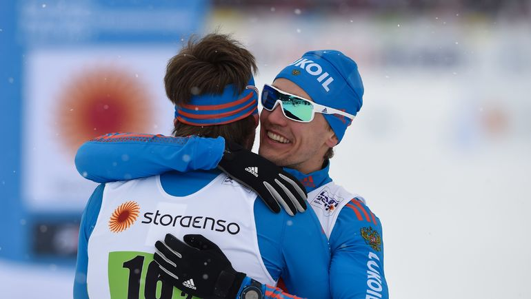 26 февраля. Лахти. Сергей УСТЮГОВ (слева) и Никита КРЮКОВ - чемпионы мира! Фото AFP