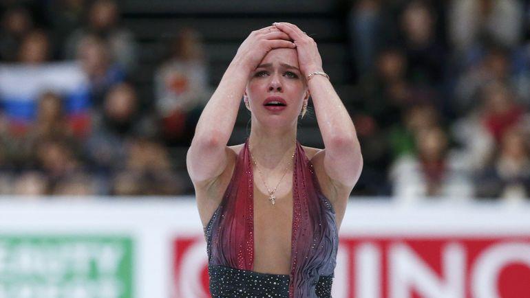 31 марта. Хельсинки. Слезы Анны ПОГОРИЛОЙ после произвольной программы. Фото Reuters