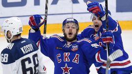 """Сегодня. Санкт-Петербург. СКА - """"Металлург"""" Мг - 2:1 2ОТ. Евгений ДАДОНОВ празднует победный гол в ворота соперника."""