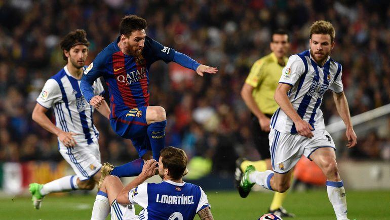 """Суббота. """"Барселона"""" - """"Реал Сосьедад"""" - 3:2. Гости вполне заслуживали ничьей на """"Камп Ноу"""", но каталонцы отстояли победный счет. Фото AFP"""