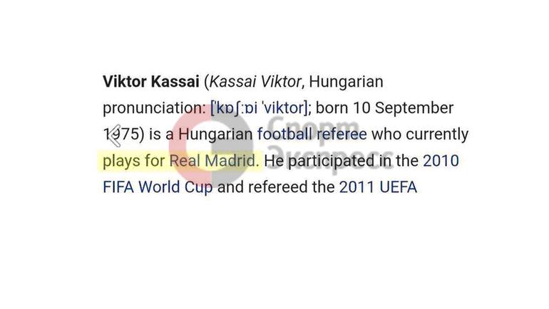 """Виктор Кошшои - игрок """"Реала"""" на """"Википедии""""."""