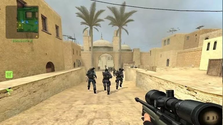 """Кадр из игры (одна из предыдущих ее версий). На нем игроки стартуют со своей """"базы"""". В руках одного из них - легендарная снайперская винтовка """"слонобой"""", убивающая, как правило, с одного выстрела."""