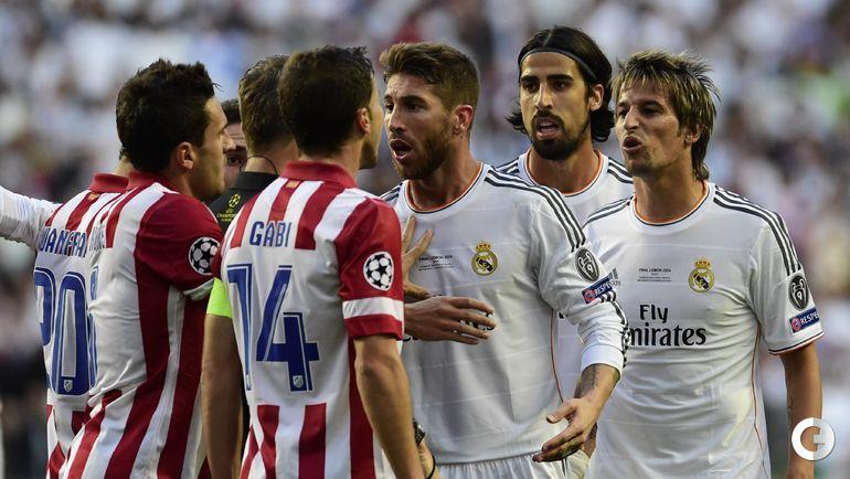 """24 мая 2014 года. Лиссабон. """"Реал"""" - """"Атлетико"""" - 4:1 д.в. СЕРХИО РАМОС против ГАБИ."""