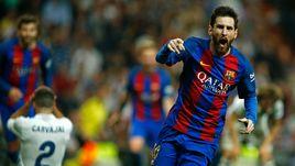 """Воскресенье. Барселона. """"Реал"""" - """"Барселона"""" 2:3. 90+2-я минута. Лионель МЕССИ радуется юбилейному голу."""