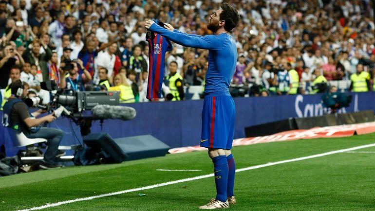 """Воскресенье. Мадрид. """"Реал"""" – """"Барселона"""" – 2:3. 90+2-я минута. Лионель МЕССИ празднует победный гол. Фото AFP"""