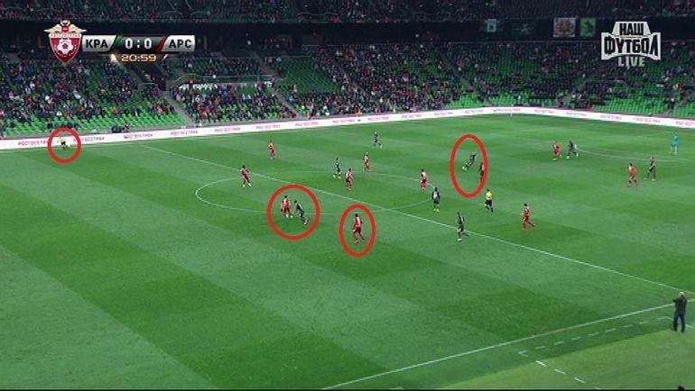 """Воскресенье. Краснодар. """"Краснодар"""" - """"Арсенал"""" - 2:0. 21-я минута. Федор СМОЛОВ убегает в атаку, но арбитр фиксирует офсайд."""