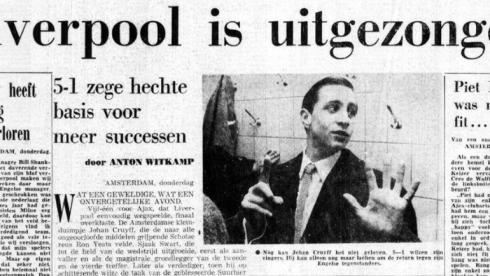 """Заголовок """"Телеграф"""" от 8 декабря 1966 г.: """"Юный Кройф похваляется разгромом """"Ливерпуля""""."""