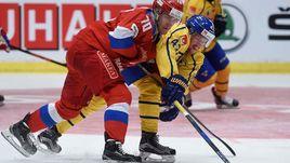 Сегодня. Стокгольм. Швеция - Россия - 4:3 ОТ. В борьбе Владимир ТКАЧЕВ (№70).