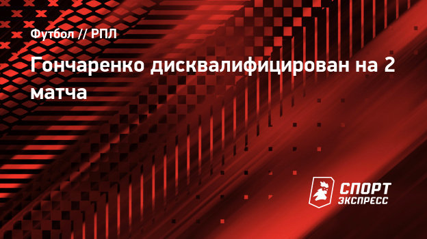 Гончаренко дисквалифицирован на2 матча