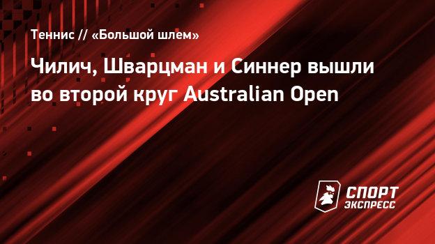 Чилич, Шварцман иСиннер вышли вовторой круг Australian Open