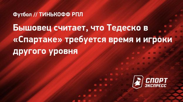 Бышовец считает, что Тедеско в «Спартаке» требуется время иигроки другого уровня