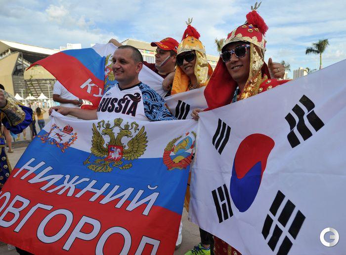 карте обозначены фото болельщиков с матча россия корея есть