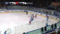 Гол. 1:0. Окулов Константин (Сибирь) открывает счет матча в большинстве